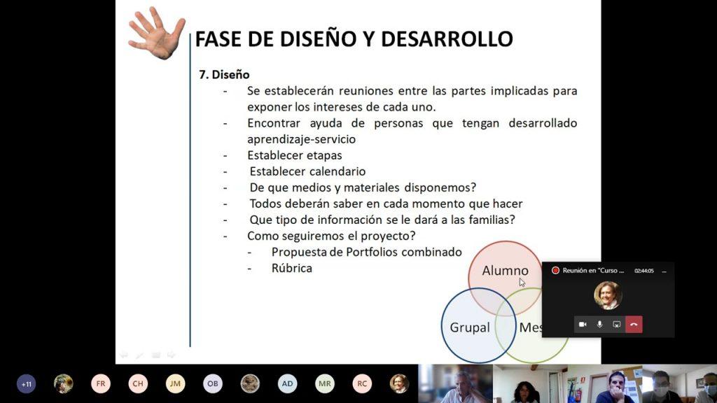 Captura de pantalla del curso de Formación de Formadores donde se ven los contenidos